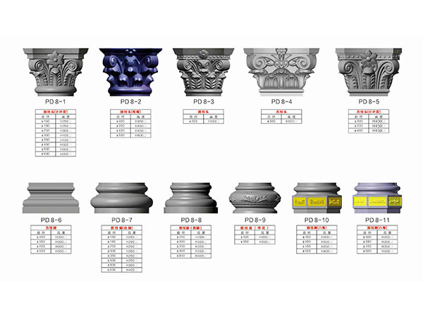 云南罗马柱模具系列(柱头柱脚)